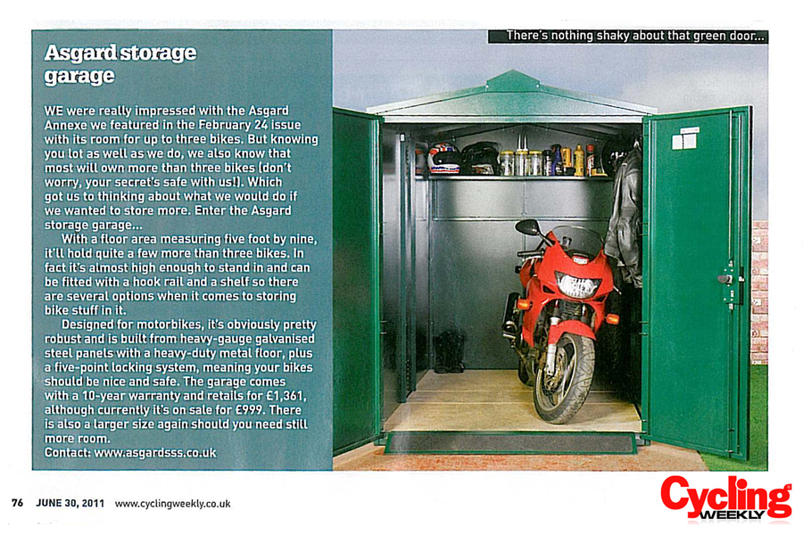 Cycling Weekly review for Asgard Motorbike Shed