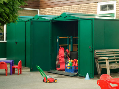 What is the playground storage shed made from? & School pack 1 secure playground storage shed Asgard