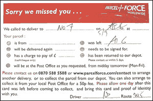 Missed Delivery Note