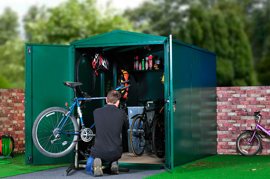 fixing your bike in an asgard shed