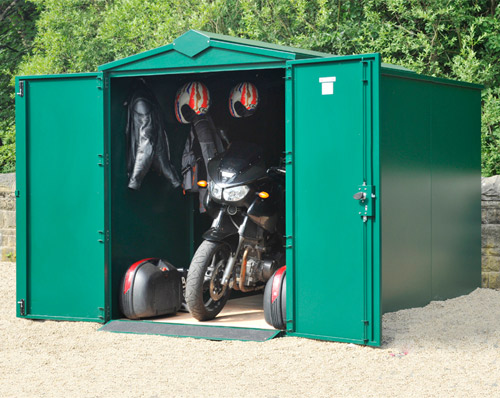 Looking at a metal motorbike shed?