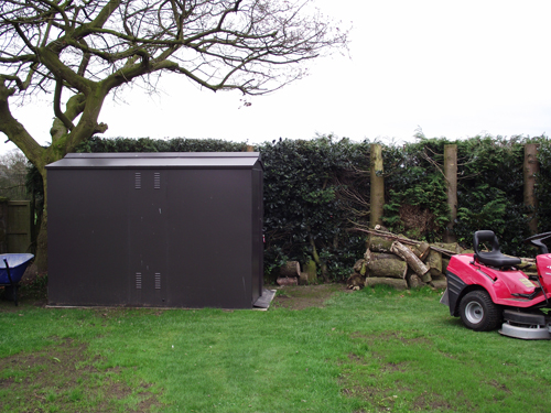 Asgard ride on mower shed