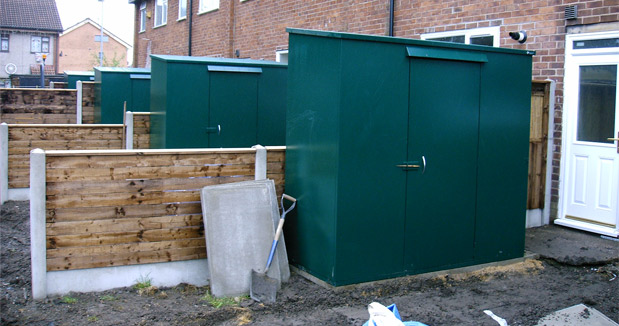Large metal storage shed