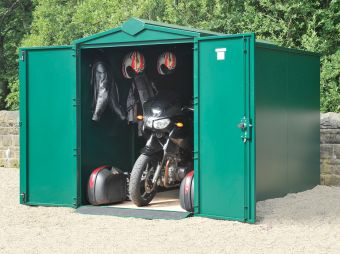 Metal Motorcycle Storage - Police Approved Motorcycle Shed & Garage