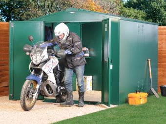 Secure Motorbike Storage - Made from Galvanised steel with approved locking