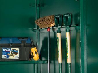 Metal tool storage rail