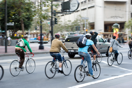 The number of people cycling to work is on the increase