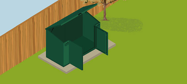 Access shed with Gas Assisted Lift-Up Lid