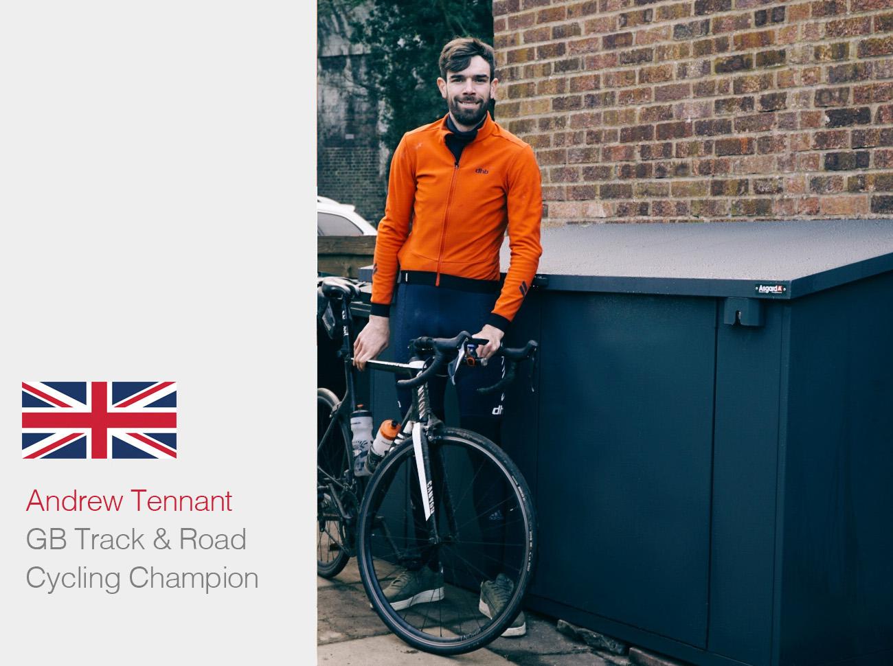 Asgard bike storage & GB rider Anyd Tennant