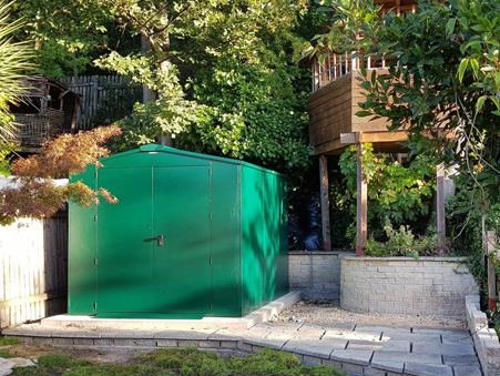 Gladiator Garden Shed on a stone decking