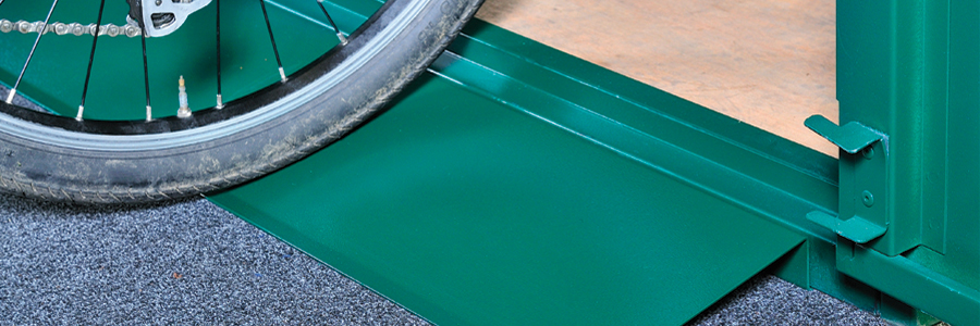 Asgard metal sheds with ramps for easy loading