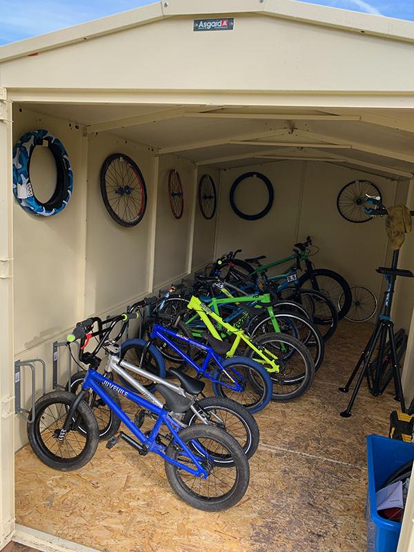 Inside an Asgard Bike Storage Shed