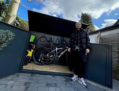 Matt DiAngelo with his Asgard bike shed
