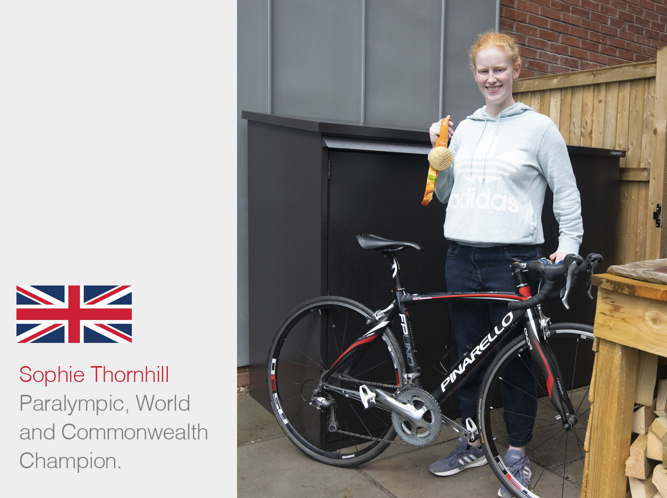 Sophie Thornhill gets an Asgard Bike Storage Shed