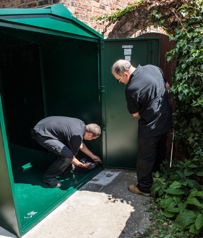 Securing the motorcycle garage doors