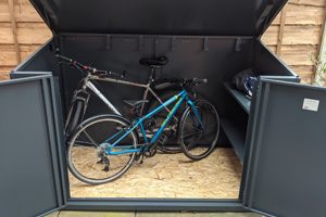 Grey Secure Cycle Storage Shed with Double Doors and Lift Up Lid
