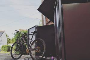 Bike Shed With Bike Maintenance Gear Storage
