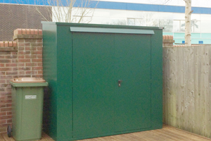 Green secure storage shed
