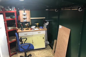 Gladiator garden shed and workshop with power and lighting