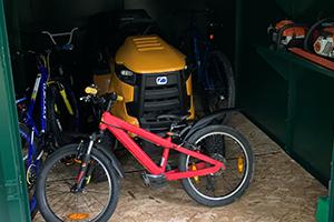 Lawn mower metal storage shed