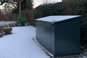 metal shed in the snow asgard