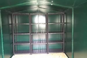 Customer's Garden Shed with plastic racking system
