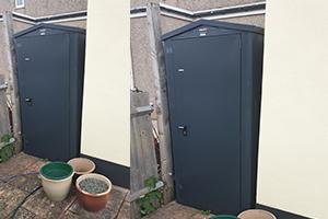Slimline shed at side of house
