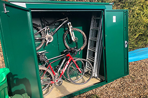 Spacious metal shed for bikes and garden