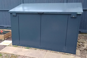 Grey metal garden storage shed