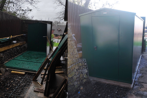 Garden storage shed outdoors