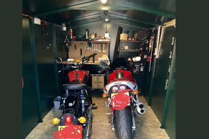 Motorcycle shed with power and lighting