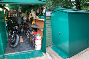 Secure motorcycle garage with customer's DIY workbench