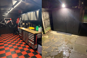 Motorcycle garage and workshop with power