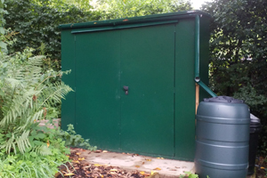 Rodent Proof Storage - Customer's shed with guttering to collect rainwater.