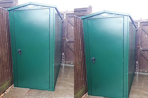Slim line shed for flats