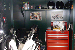 High security motorbike garage