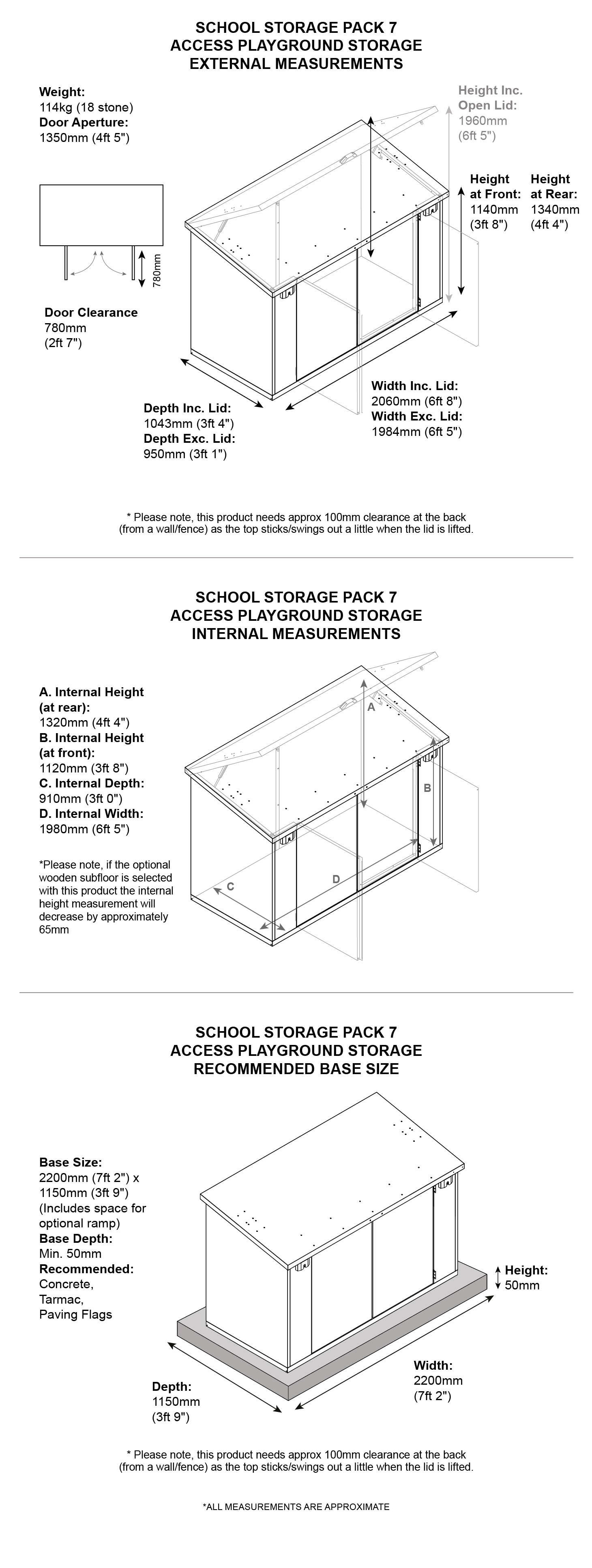 School Storage Pack 7 dimensions