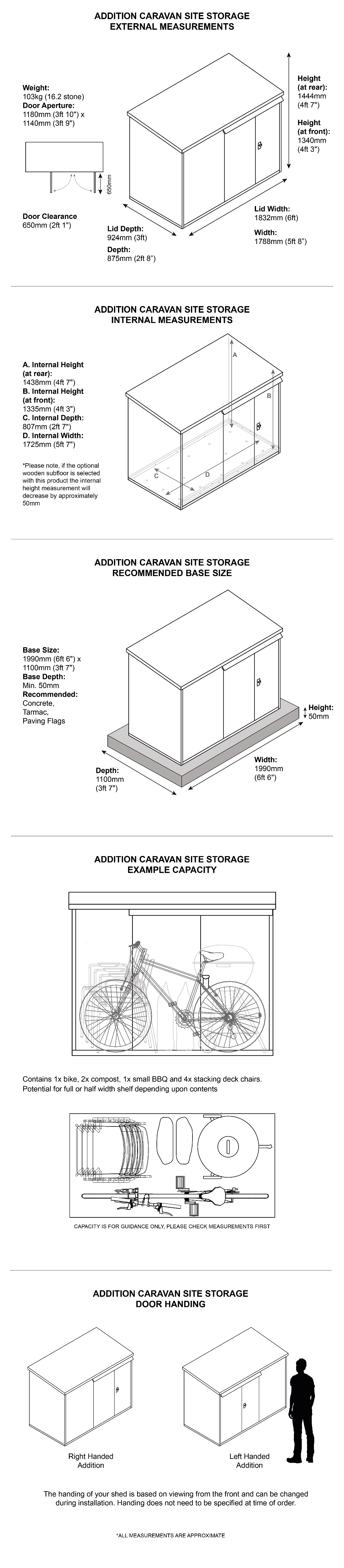 Metal Caravan Site Storage Dimensions