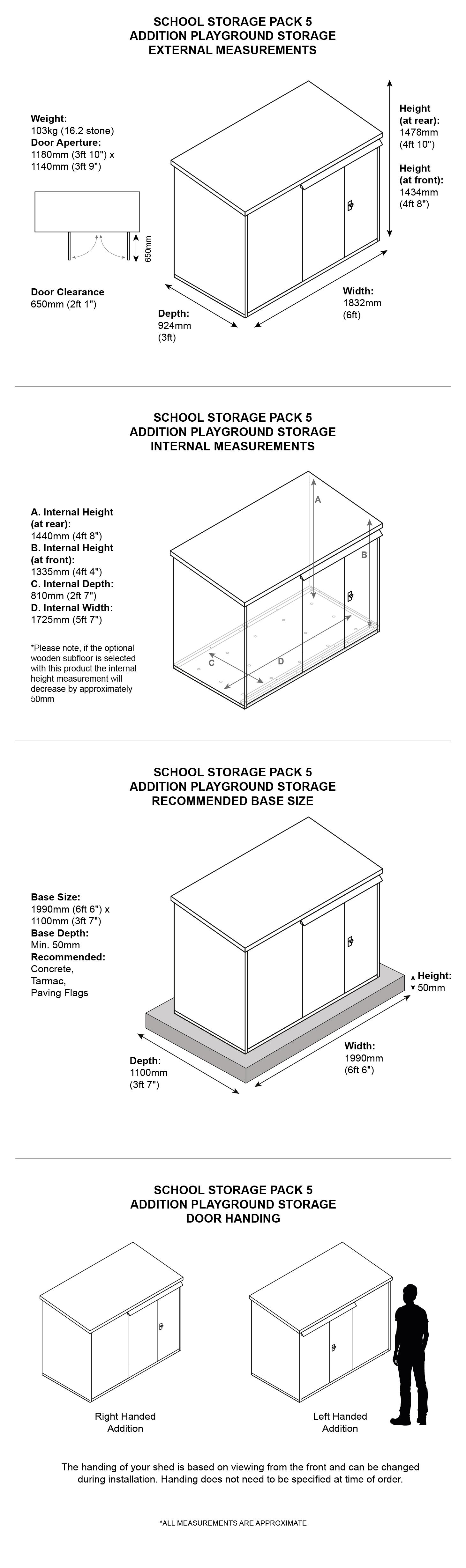School Storage Pack 5 Dimensions