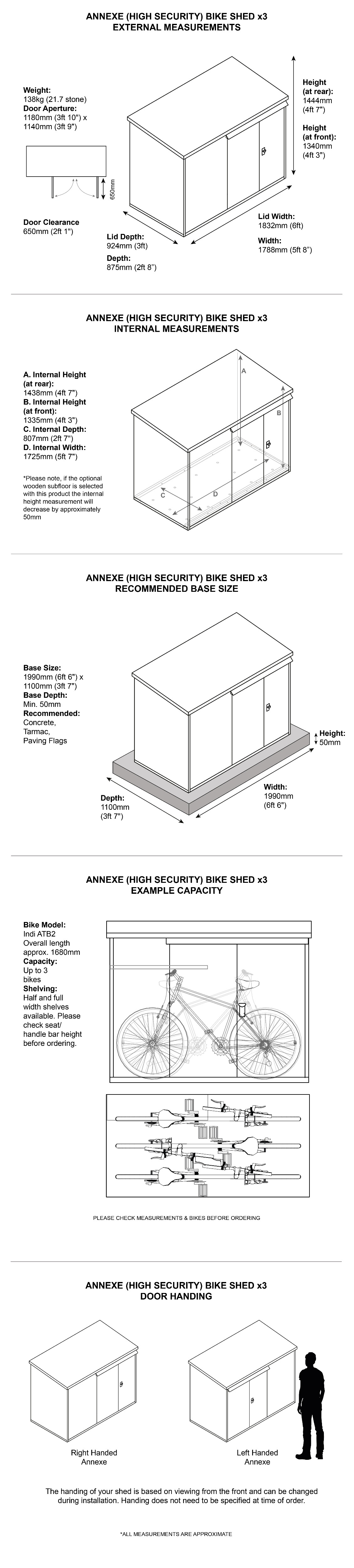 Asgard High Security Bike Storage Dimensions