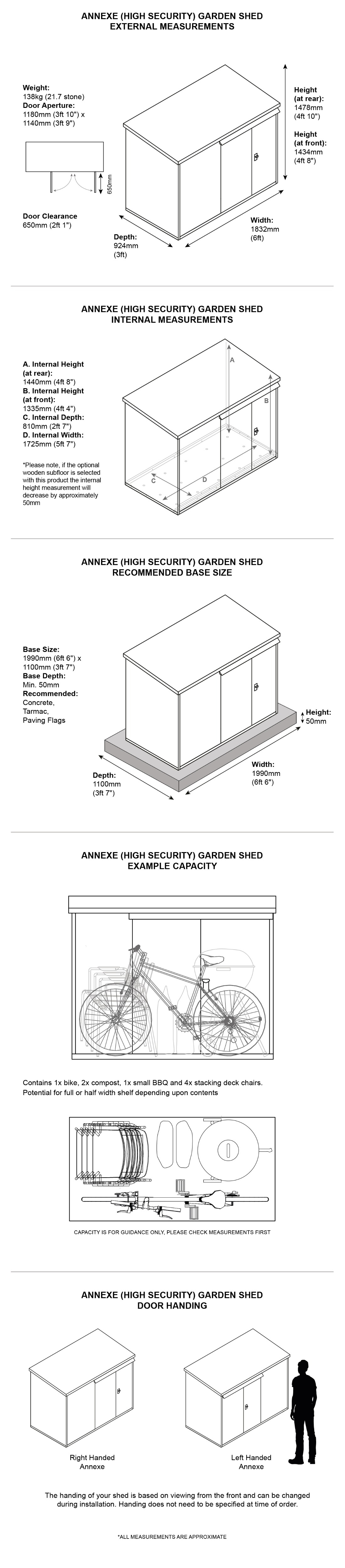 Annexe metal garden shed dimensions