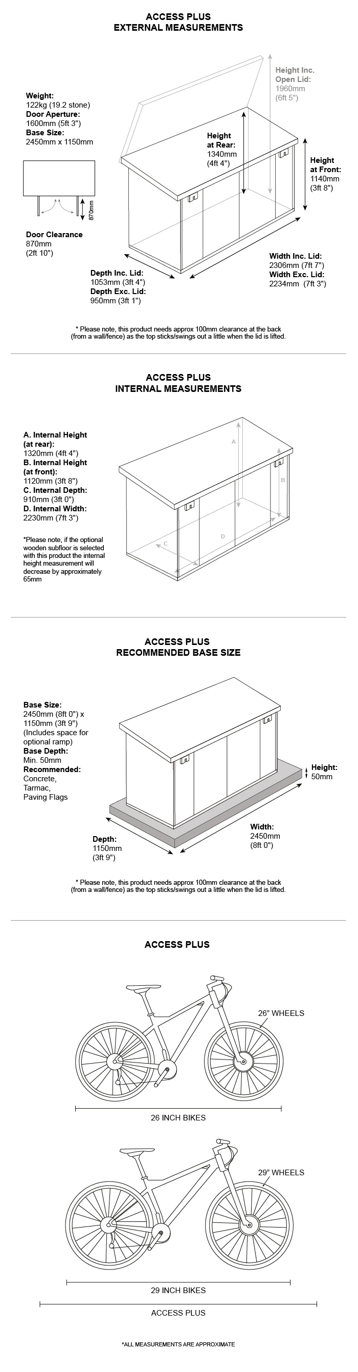 Metal garden Storage dimensions
