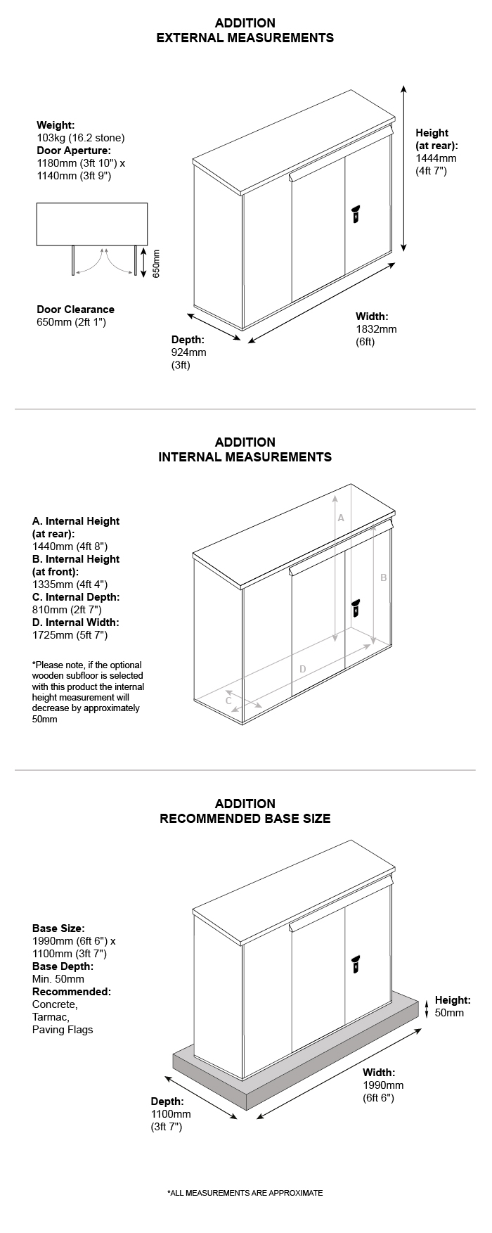 Dimension chart for 6 x 3 metal shed