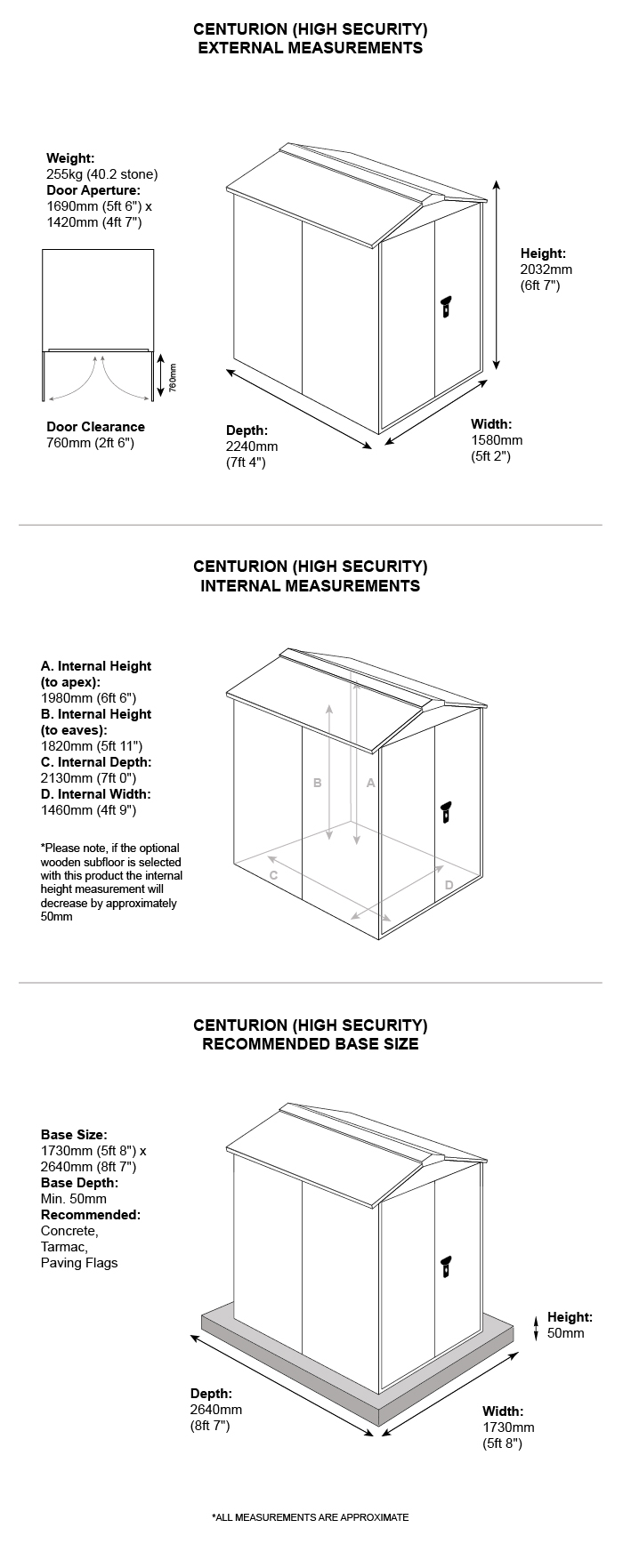 Centurion Shed - Dimensions sheet