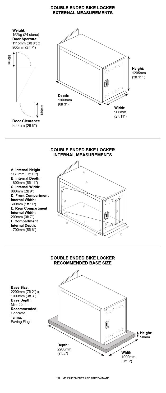 Double Ended Bike Locker Dimensions