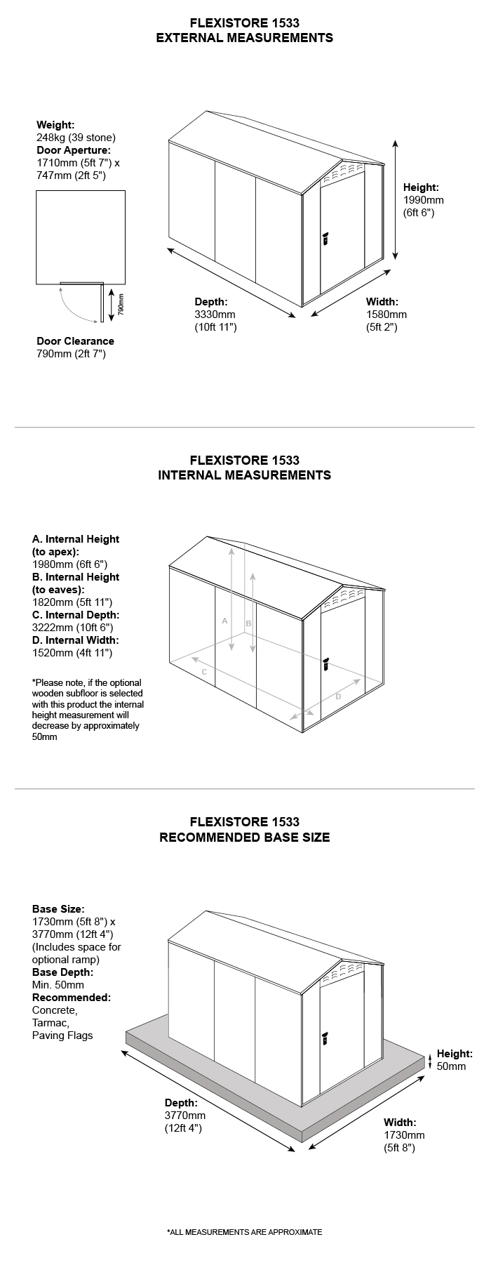 lawn mower storage shed dimensions