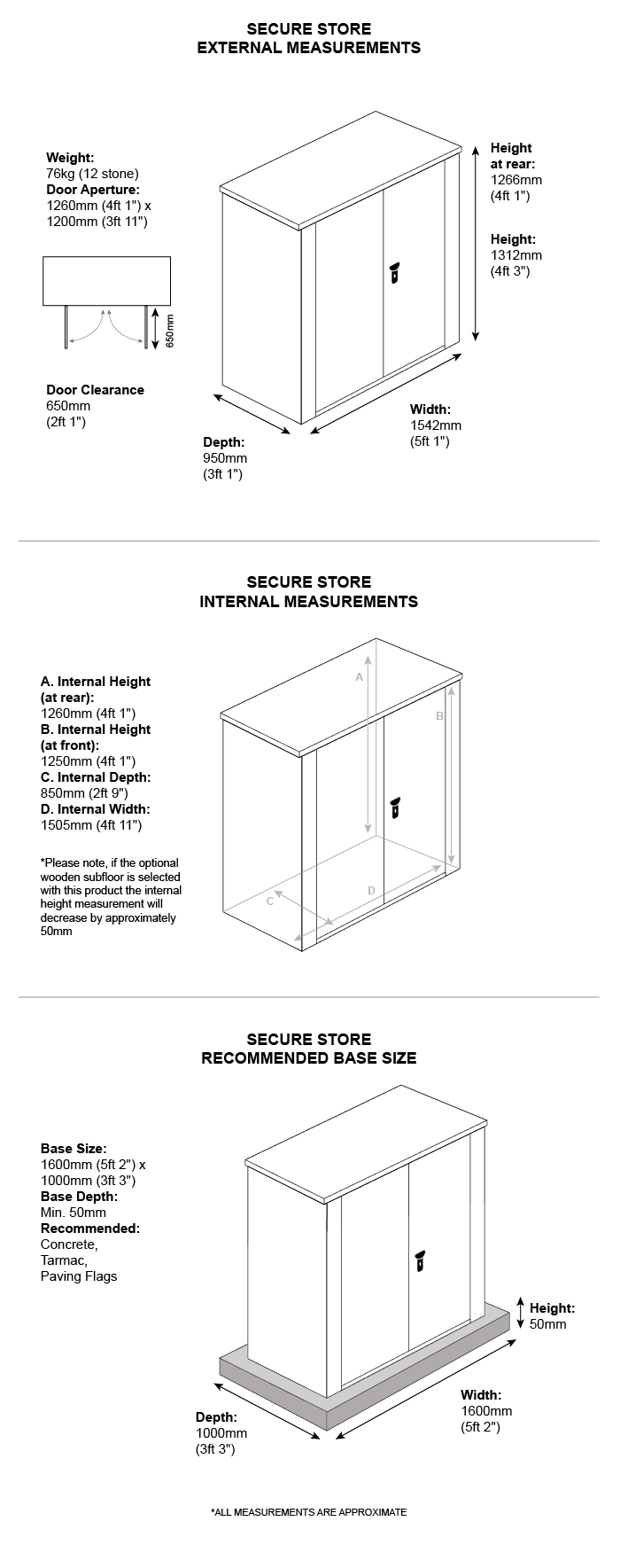 Secure Store Metal Shed Dimensions