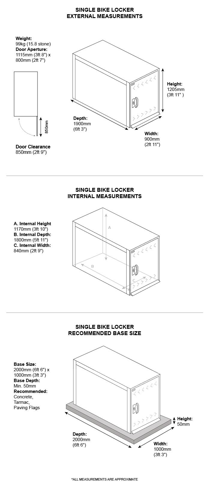 School Bike Locker (Single) Dimensions