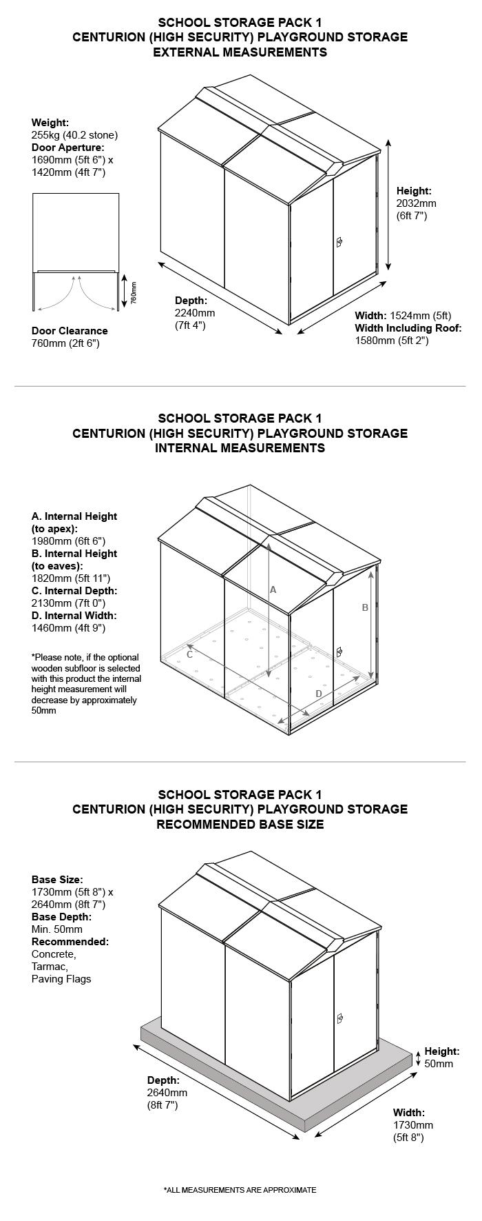 School Storage Pack 1 Dimensions