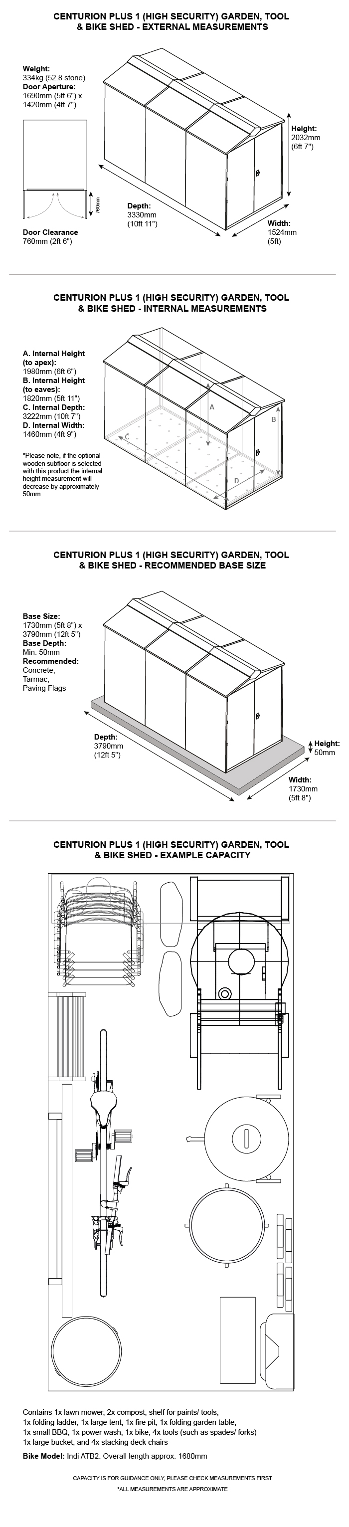 Centurion Plus 1 Metal Shed Dimensions